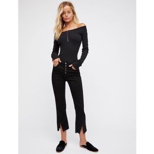 Free People Cropped Button Front Jeans